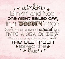 Winkin Blinkin and Nod – Square – Pink  by Janelle Wourms