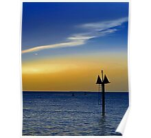 Sunset on the Key West bight Poster