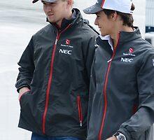 Esteban Gutierrez and Nico Hulkenberg by Rhiannon D'Averc