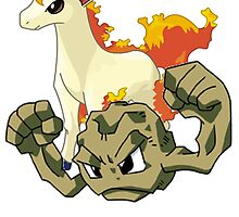 Ponyta and Geodude by linwatchorn