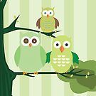 Green Owls by Adamzworld
