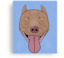 Smiling Red Nose Pitbull with his Tongue Out - Line Art Canvas Print