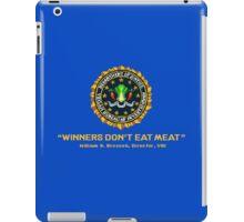Winners Don't Eat Meat - Scott Pilgrim inspired Vegan Police Logo (blue screen version) iPad Case/Skin