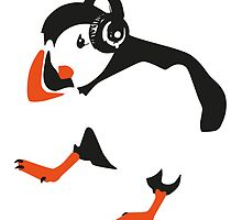 dancing puffin wearing headphones by MooieVogel