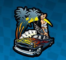 California Dreamin' Illustrated Hot Rod Pin Up Girl - Azure Background by DriveIndustries