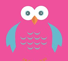 Blue & Pink Owl by Adamzworld