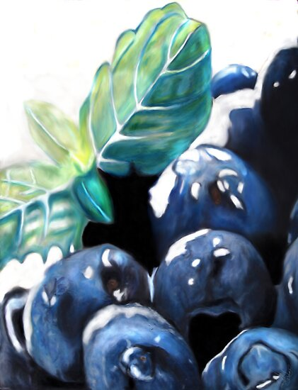 Blueberries in the snow by Michael Amos