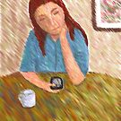 Texting - Impressionist Painting by Sarah Countiss