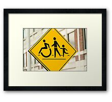 Adult, children and handicap Pedestrian Sign Framed Print