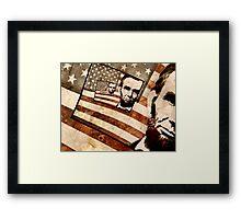 President Abraham Lincoln Patriotic Flag Framed Print