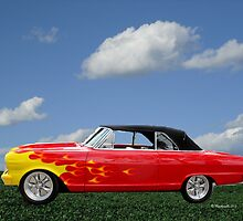 Classic Car - Red and Yellow Flames by Barberelli
