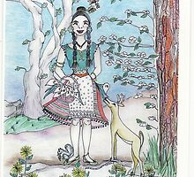 Lady and the Dogwoods by merrilymccarthy