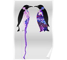 Penguins in Blue Poster