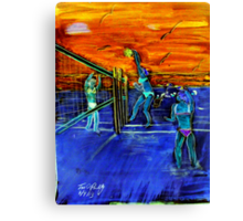 Walking on Air illusionist Mychaela Miller from famous Air Miller Klan  pounds an Ace Love 40 Its Miller Time water color  Canvas Print
