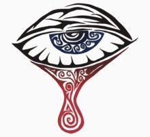 Blue Tribal Tearing Eye  by Mark Kerr