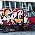Abstract Graffiti on the side of a truck. by yurix