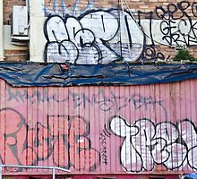 Abstract Graffiti in the grunge wall and sea container by yurix