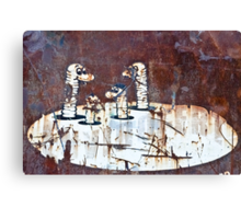 Worms Graffiti on the grunge rusty metal wall Canvas Print