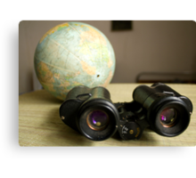 Binoculars and Globe Canvas Print
