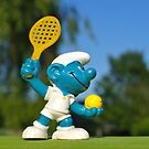 Smurf tennis player by freshairbaloon