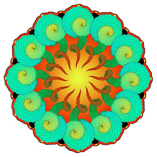 Abstract Flower Mandala  by Phil Perkins