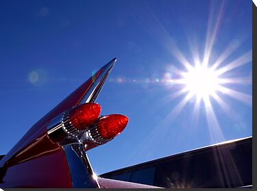 Red Cadillac Fin and Solar Flare by wayneyoungphoto