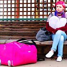 pink luggage by LouJay