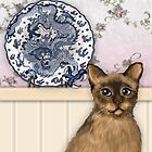 The Chinese Plate and Tibetan Cat by Kim  Harris