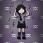 Emo Goth Girl with Music Headphones by ArtformDesigns