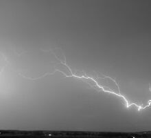 Lightning Bolts Coming In For A Landing Panorama BW by Bo Insogna