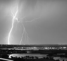 Lightning Strike Boulder Reservoir and Coot Lake BW by Bo Insogna