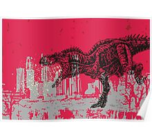 T-Rex dinosaur attacking grunge city Poster