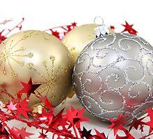 Christmas Glitter Shiny Ornaments Gold Silver by sitnica
