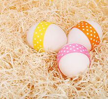 Easter Eggs Ribbons Dots Hay Yellow Pink Orange by sitnica