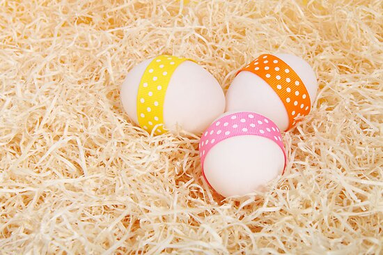 Easter Eggs, Ribbons, Dots, Hay - Yellow Pink  by sitnica