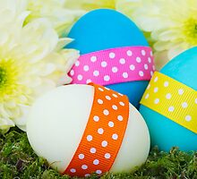 Painted Easter Eggs Ribbons Dots Flowers Blue Pink by sitnica
