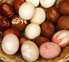 Painted Easter Eggs Straw Basket Brown White by sitnica