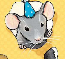 Little Grey Party Mouse by Lisa Marie Robinson