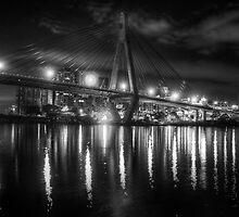 Anzac Bridge by night by Andrew Dickman