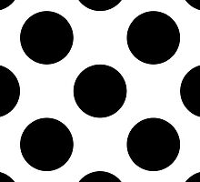 Artistic Abstract Retro Polka Dots White Black by sitnica
