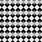 Black and White Argyle Plaid Checks Pattern by ArtformDesigns
