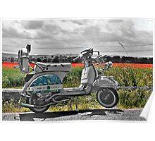 Vespa T5 in English Poppy Field 2 Poster