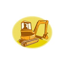 Mechanical Digger Excavator Retro by patrimonio