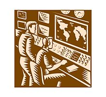 Control Room Command Center Headquarter Woodcut by patrimonio