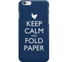 Keep Calm and Fold Paper - Chicken/Blue iPhone Case/Skin