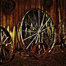 Wagon Wheels under a Full Moon by © Bob Hall