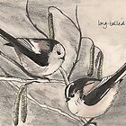 Long-tailed Tits on Hazel by Sam Burchell