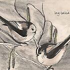 Long-tailed Tits on Hazel by Sam Burchell