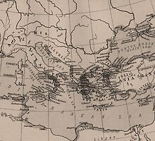 Old Map, Mediterranean Sea, Europe - Brown Black by sitnica