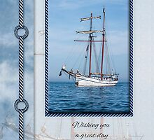 Yacht Birthday Greeting Card by Moonlake